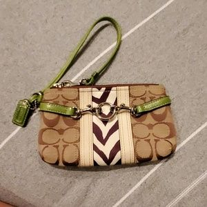 Coach signature brown leather wristlet